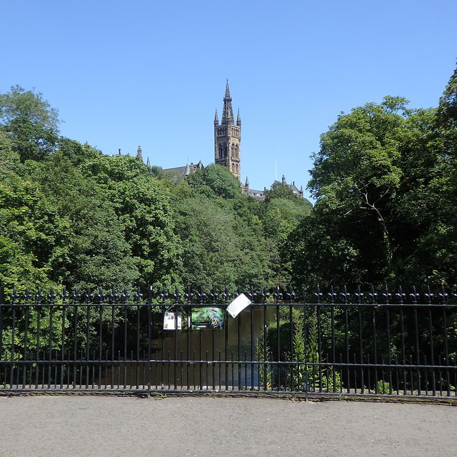 River Kelvin and University bell tower, Glasgow