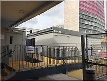 NS5965 : Temporary toilets and waiting room, Queen Street station, Glasgow by Robin Stott