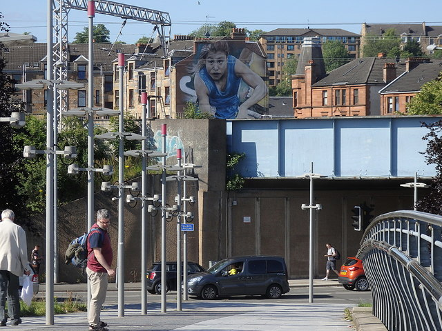 North Clyde Line and mural, Partick, Glasgow