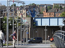 NS5566 : North Clyde Line and mural, Partick, Glasgow by Rudi Winter