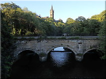 NS5666 : Snow Bridge and University bell tower, Glasgow by Rudi Winter