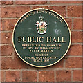SD6311 : Plaque on Horwich Public Hall by David Dixon