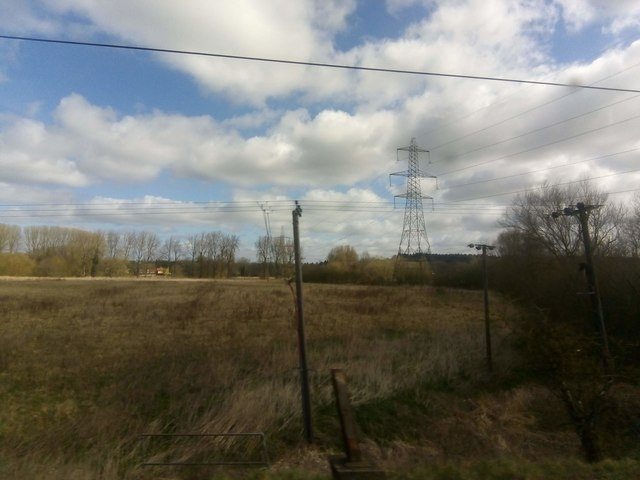 Meadows and pylon-line, south-east of Needham Market
