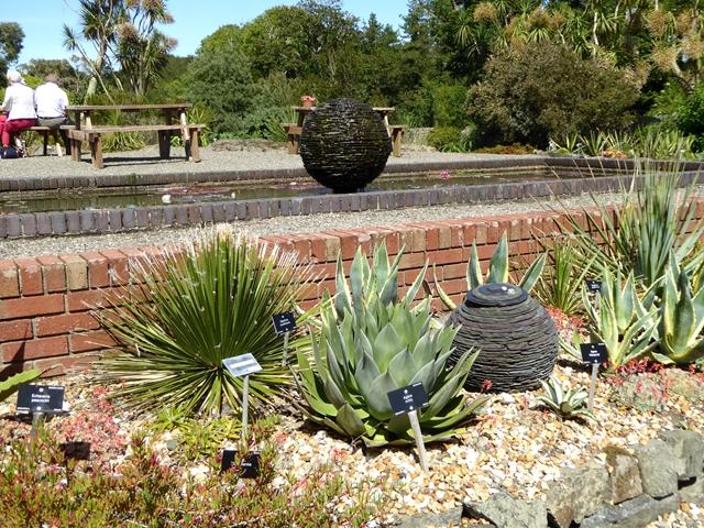 Desert plants and slate spheres
