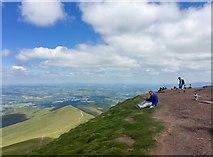 SO0121 : Hikers on the summit of Pen y Fan by Alan Hughes