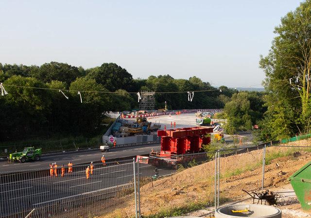 Romsey Road bridge works site, after bridge in position