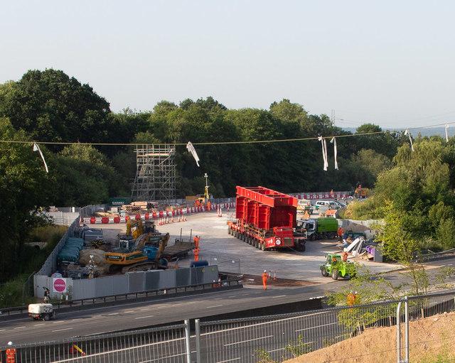 Romsey Road bridge, multi-wheeled transporter