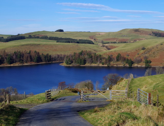 Lane with cattle grid and view of Clywedog Reservoir