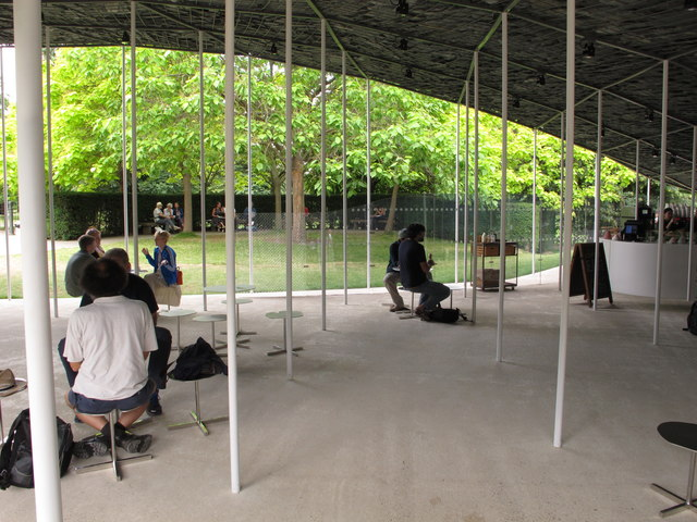 Serpentine Gallery Pavilion 2019 interior with cafe