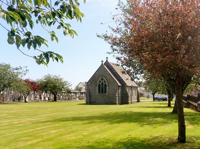 The rear of the main mortuary chapel at Dowdallshill Cemetery, Dundalk