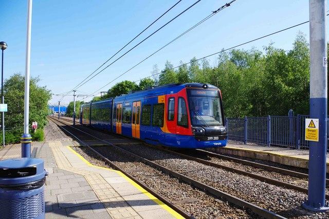 Citylink Tram-Train 399 203 entering Valley Centertainment tram stop, Sheffield