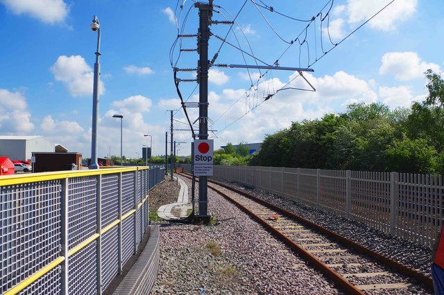 End of the tram-train route at Rotherham Parkgate, Rotherham