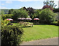SO1122 : Usk Inn beer garden, Talybont-on-Usk  by Jaggery