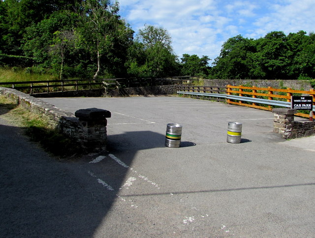 Kegs across the White Hart Inn car park, Talybont-on-Usk