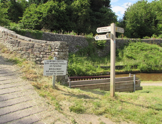 Wooden signpost at the edge of canal bridge 143, Talybont-on-Usk