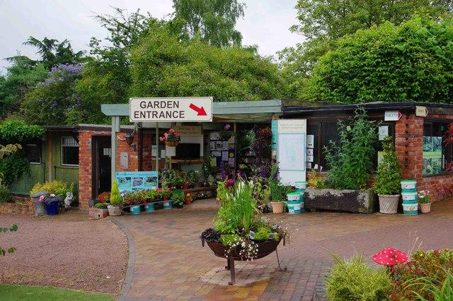 Whitlenge Gardens - entrance to garden, near Hartlebury, Worcs