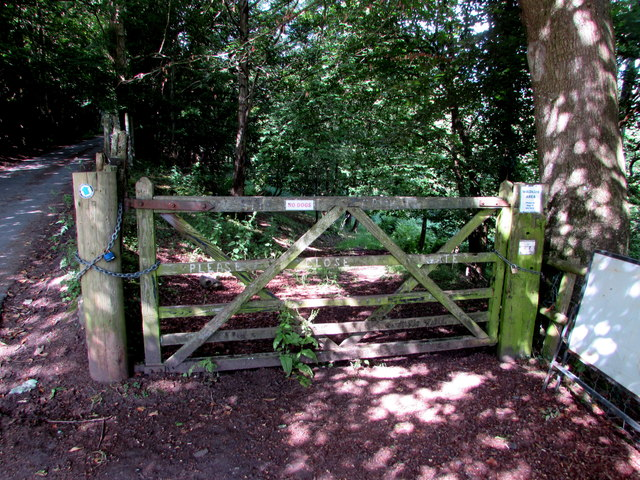 Wooden gate across a wildlife area entrance, Talybont-on-Usk
