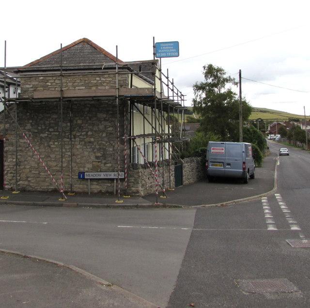 Scaffolding on a suburban corner, Weymouth