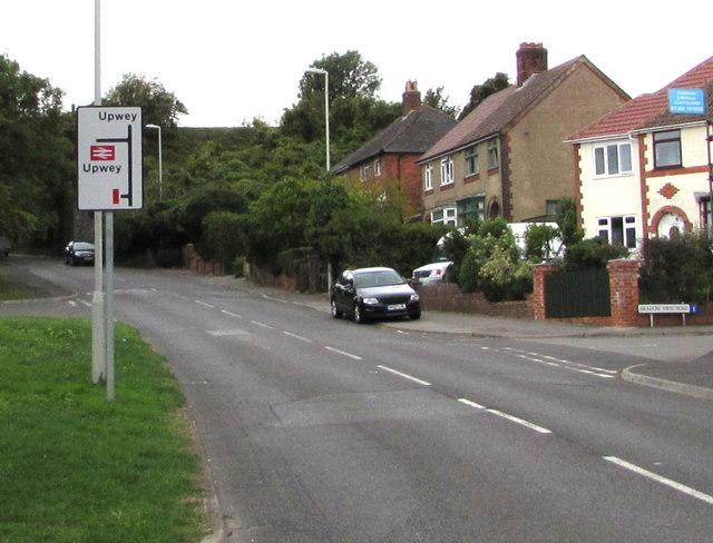 Upwey railway station direction sign, Littlemoor Road, Weymouth