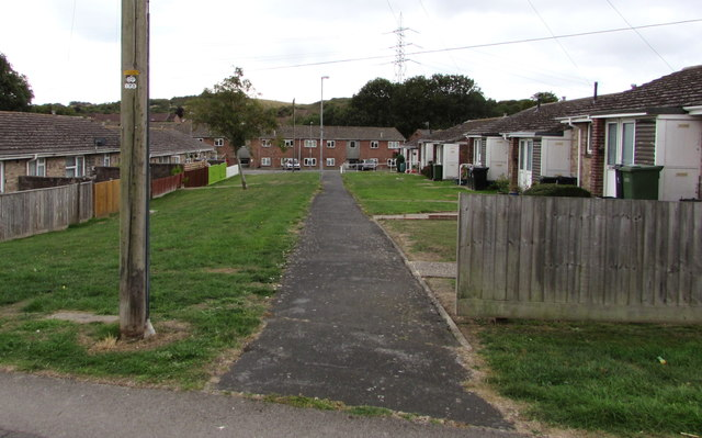 Path between bungalows in the north of Weymouth
