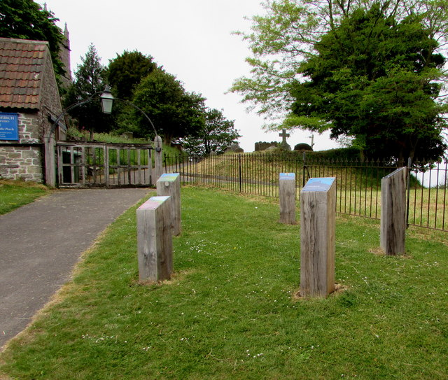 Information posts at the entrance to St Arilda's churchyard, Oldbury-on-Severn