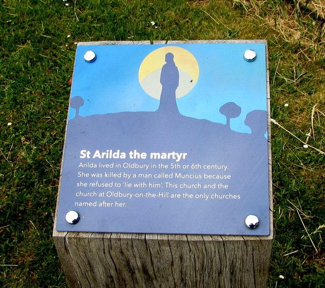St Arilda the martyr information, Oldbury-on-Severn