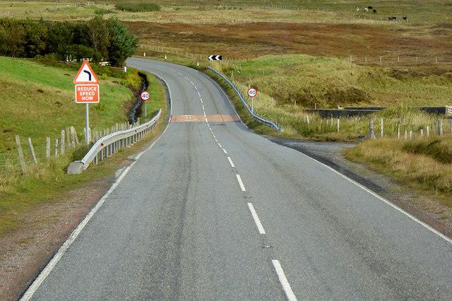 A970 crossing Burn of Skelladale
