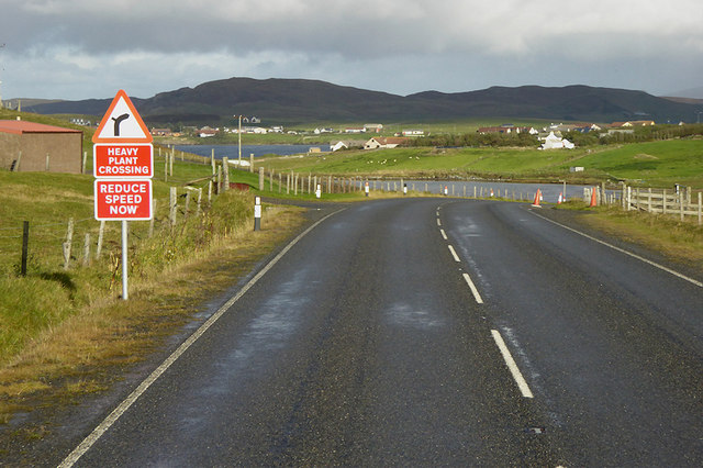Northbound A970 towards Brae