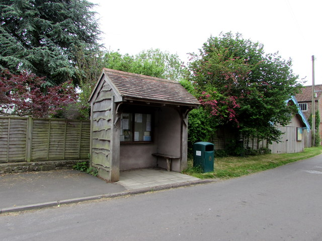 Shelter and litter bin in the centre of Oldbury-on-Severn