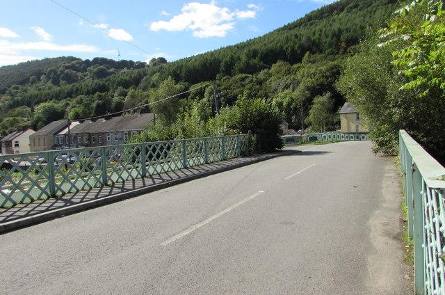 Across a river bridge, Ynysddu