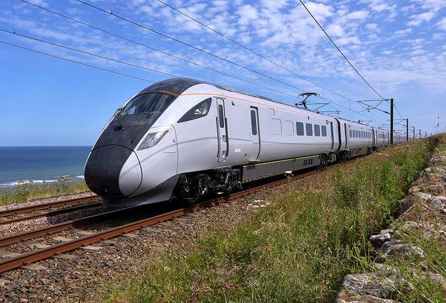 An LNER Azuma train heading for Berwick-upon-Tweed