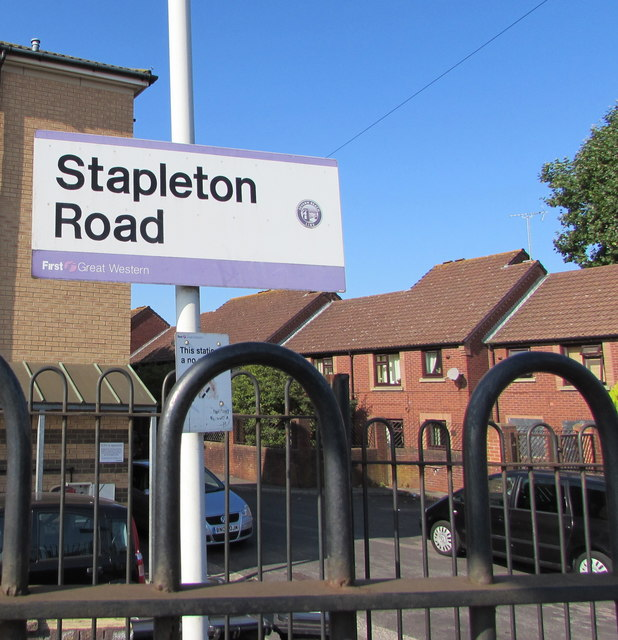 Stapleton Road railway station name sign, Bristol