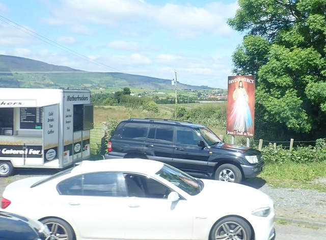 Divine Mercy Shrine at Motherfruckers Chip Wagon in a lay-by on the Dublin Road