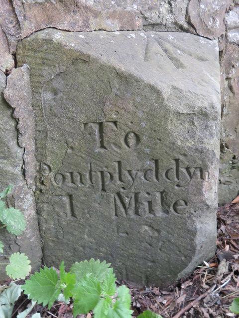 Milestone on Rhyd-y-Defaid bridge - east face