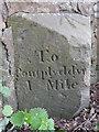 SJ2960 : Milestone on Rhyd-y-Defaid bridge - east face by John S Turner