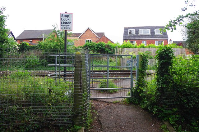 Kissing gate at entrance to pedestrian level crossing, St. John's, Worcester