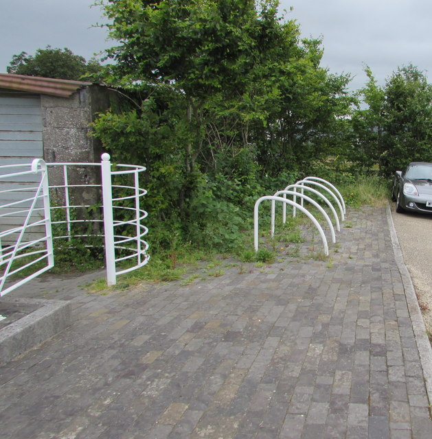 White cycle racks and kissing gate at the edge of Bute Town near Rhymney