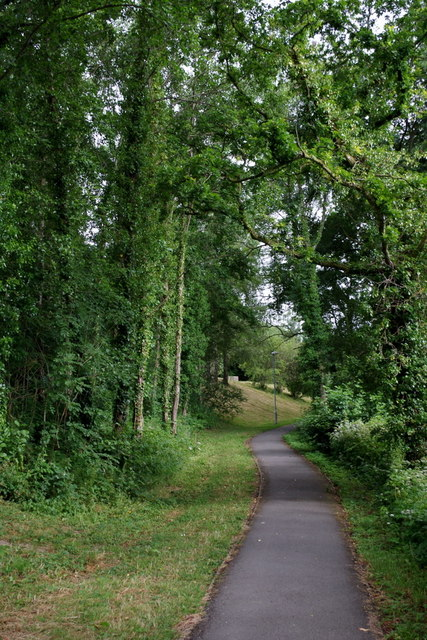 Path to the lake from Powys County Hall