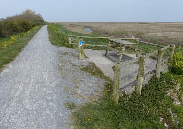 Picnic bench along the Wales Coast Path