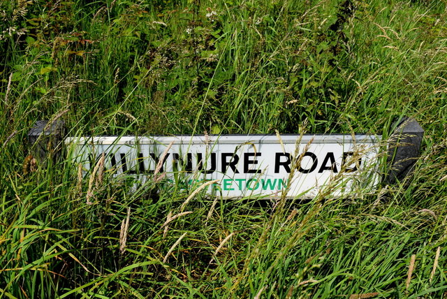 Hidden road sign along Killynure Road