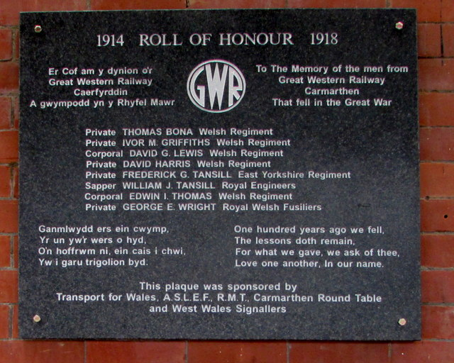 Roll of Honour on the wall of Carmarthen railway station platform 1
