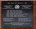 SN4119 : Roll of Honour on the wall of Carmarthen railway station platform 1 by Jaggery