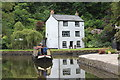 SO2813 : Narrow boat by Boathouse Cottage, Llanfoist by M J Roscoe