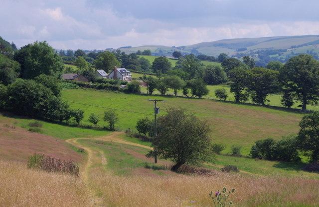 Farmland by Llansantffraed-in-Elwel