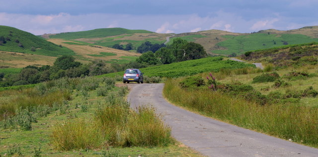 Lane across open hill grazing land at Camnant