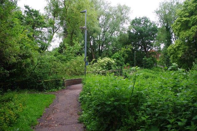 Public footpath approaching footbridge over Laughern Brook, St. John's, Worcester