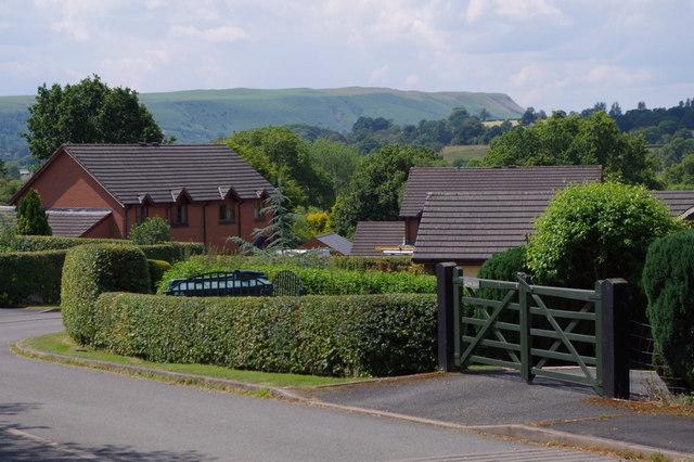 A small modern housing development in Franksbridge