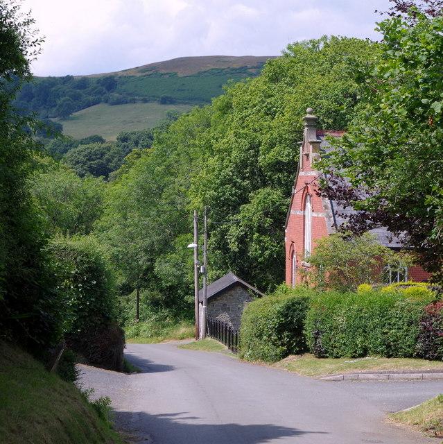 Village street past Franksbridge Baptist Chapel