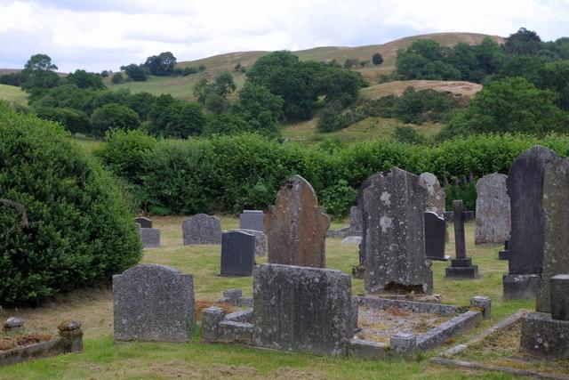 A corner of Llansantffraed-in-Elwel churchyard
