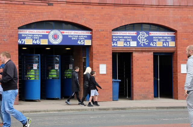 Turnstiles in the Bill Struth Main Stand at Ibrox Stadium